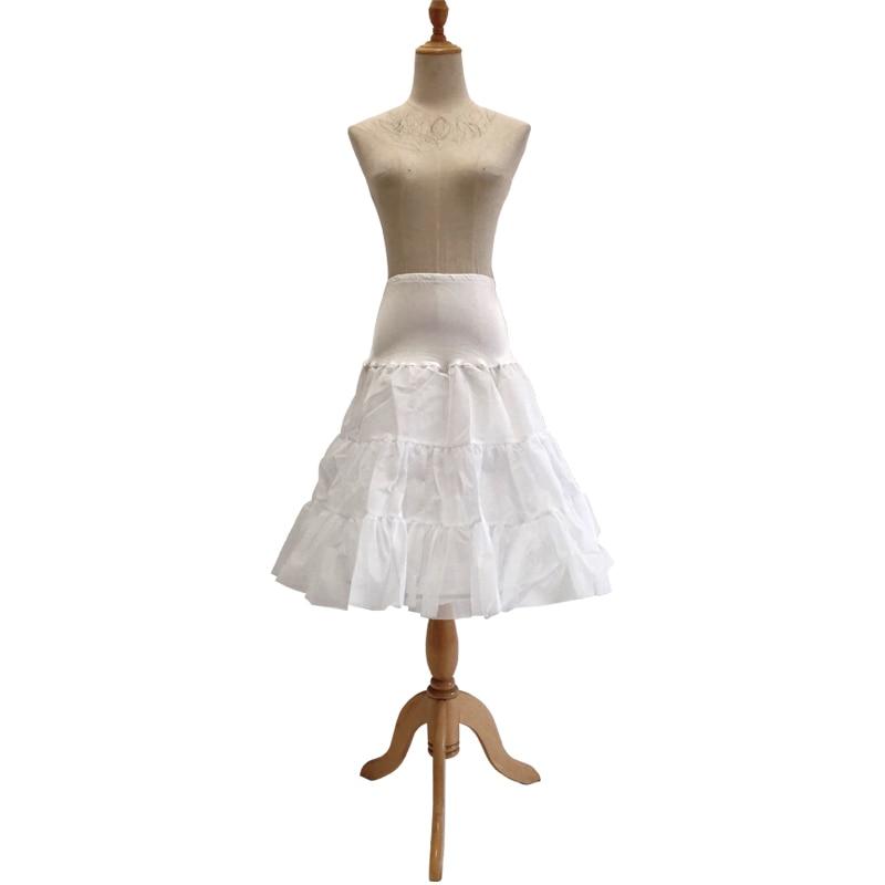 Ladies Wedding Party Banquet Costume Petticoat White Crystal Yarn Steel Ring Crinoline Princess Style Slim Tulle Pleated Skirt