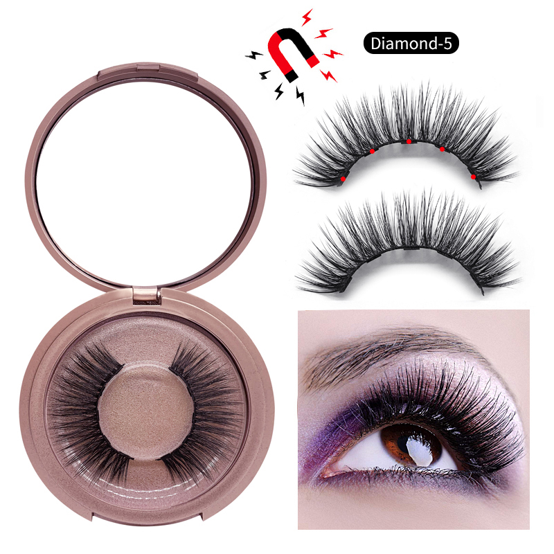 <font><b>Shozy</b></font> <font><b>Magnetic</b></font> <font><b>eyelashes</b></font> with 5 magnets <font><b>magnetic</b></font> lashes natural faux mink false <font><b>eyelashes</b></font> magnet lashes-AD811-5 image