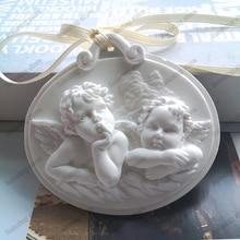 Twee Engelen Vorm Cake Silicone Mold Leuke Baby Aromatherapie Wax Hanger Schimmel Voor Auto Decor DIY Gips Gips Ambachten Mallen