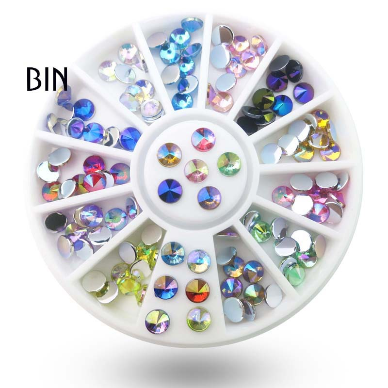 Cross Border Supply Manicure Flat-bottomed Diamond Turntable Wholesale Nail Rhinestone Nail Sticker Diamond Jewelry Round Plates