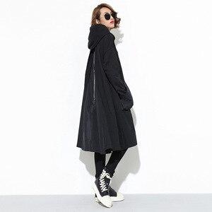 Image 3 - 새로운 2019 일본 스타일 여성 겨울 블랙 후드 드레스 포켓 지퍼 긴 소매 레이디 플러스 크기 휴일 캐주얼 미디 드레스 j220
