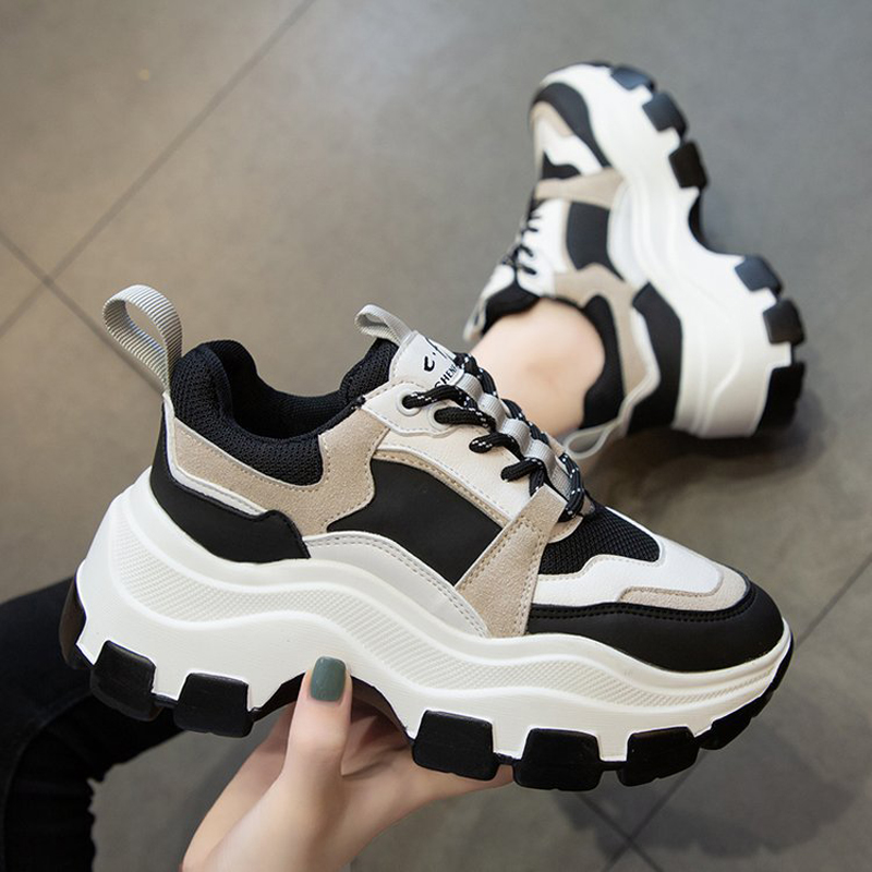 Women Vulcanized Sneakers Female Korean Fashion Chunky Shoes Black White Platform Thick Sole Running Casual Shoes Woman 7cm