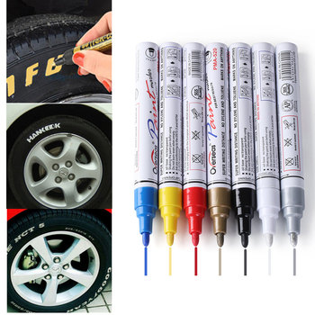 Colorful Styling Waterproof Pen Car truck Tires Tread CD Metal Permanent Paint Markers Tyre Oily Graffiti new car styling permanent waterproof car tyre tire metal paint marking pen bike aug24