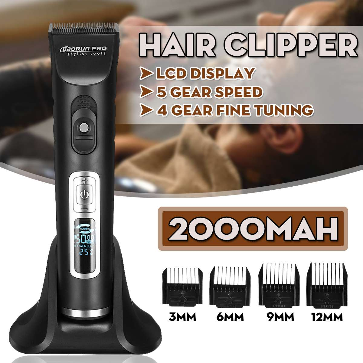 Baorun Hair Trimmer Clipper 5 Speed Mute Electric Chargeable Hair Trimmer Kit With 4 Limit Combs Barber Haircut Cutting Machine