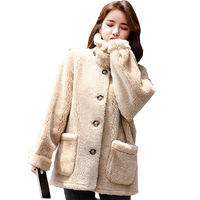 New winter coat women short jacket sheep fur mex faux fur teddy jackets wool blends loose coats plus size