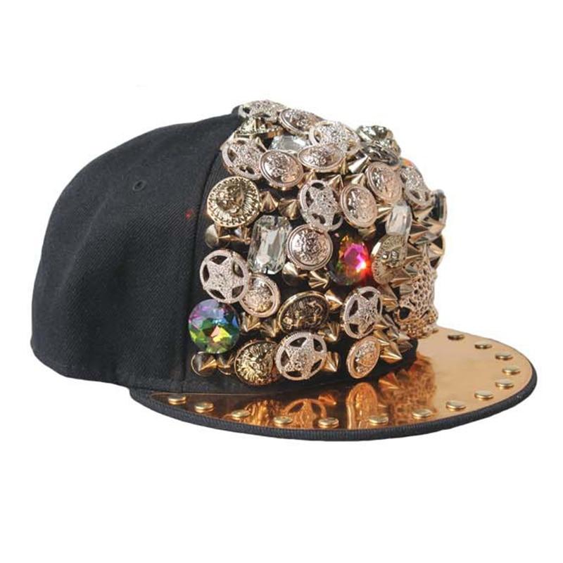 Hand Made Luxury Hip Hop Caps Flat Hat Snapback Fancy Leopard Badge Rivet Baseball Cap Nightclub Dance Cap Trendy Women Men Hat