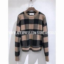 Женский кашемировый свитер осень-зима 2020, Модный мягкий, приятный на ощупь пуловер с длинным рукавом, клетчатая повседневная одежда высоког...