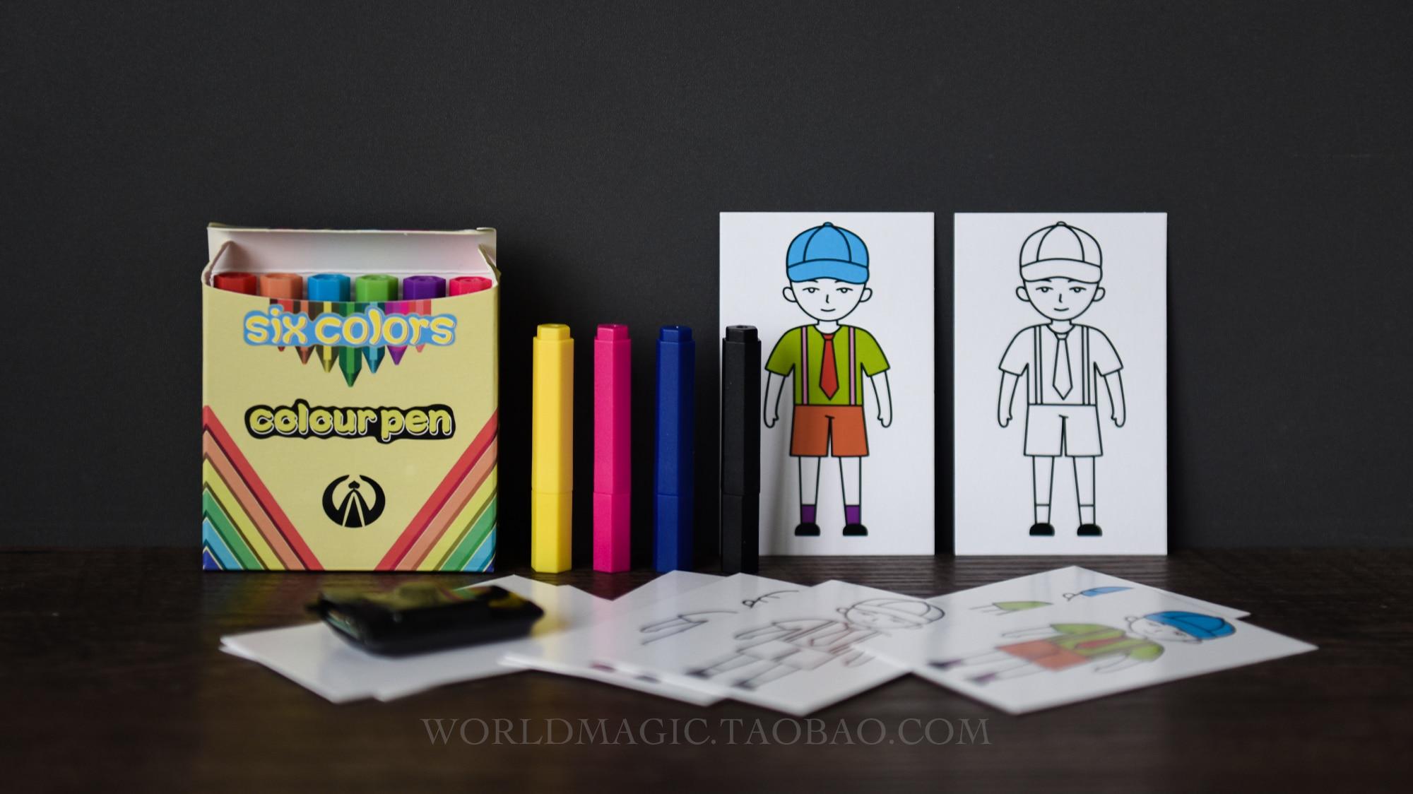 Prédiction de stylo de couleur-Match de couleur Mini, accessoires de magie de scène, tours de magie, gros plan, Illusion, accessoires, Gimmick, mentalisme Magia Fun