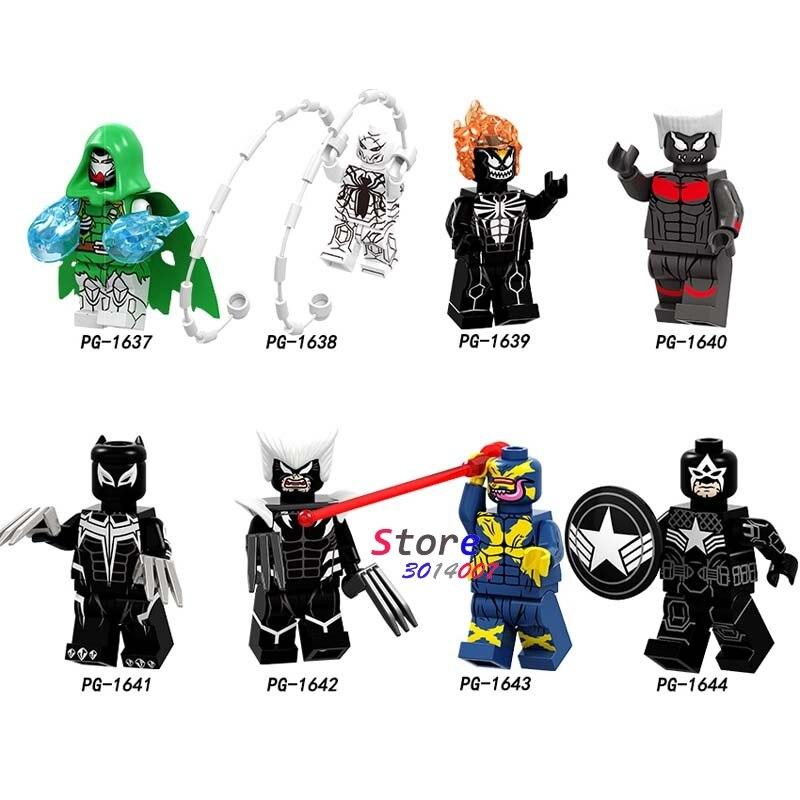Single Venom Doctor Doom Ghost Rider Colossus Panther Spiderman Wolverine Cyclops Building Blocks Toys For Children
