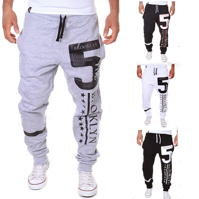 Spring And Autumn New Style Simple Men Versitile Fashion Athletic Pants With Numbers 5-Printed Casual Pants Skinny Pants