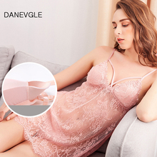 Ladies sexy nightdress straps perspective pattern sleepwear detachable chest pad lace ladies home service