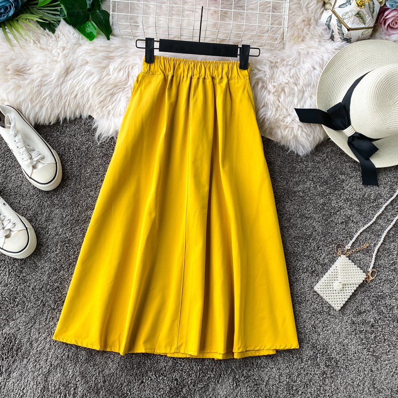 Fashion Korean Skirt Female 2020 Women Green Swing Skirt Wild Elastic Waist Small A-line High Waist Skirt Womens Midi Skirts