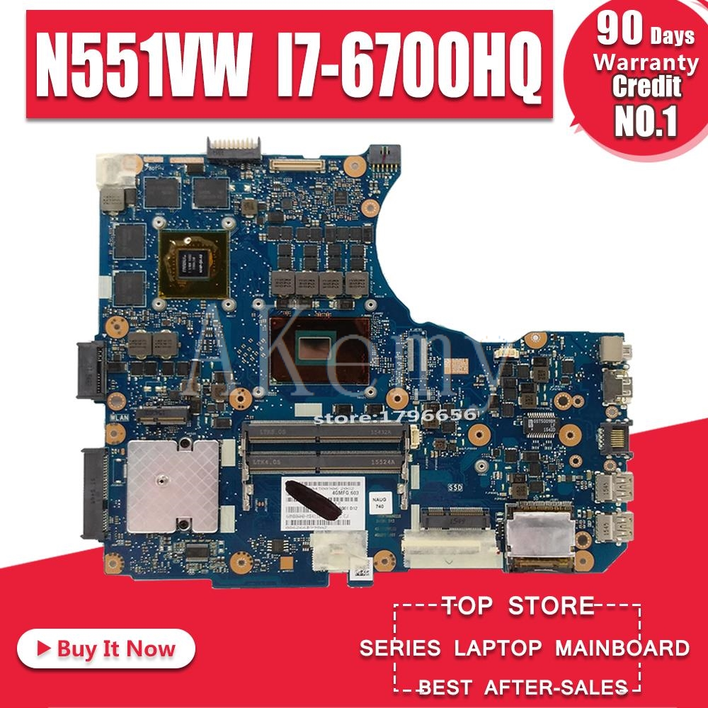 N551VW For <font><b>ASUS</b></font> <font><b>N551V</b></font> G551V FX551V G551VW FX51VW N551VW Laptop Motherboard I7-6700HQ CPU GTX960M-4GB motherboard Test work 100% image