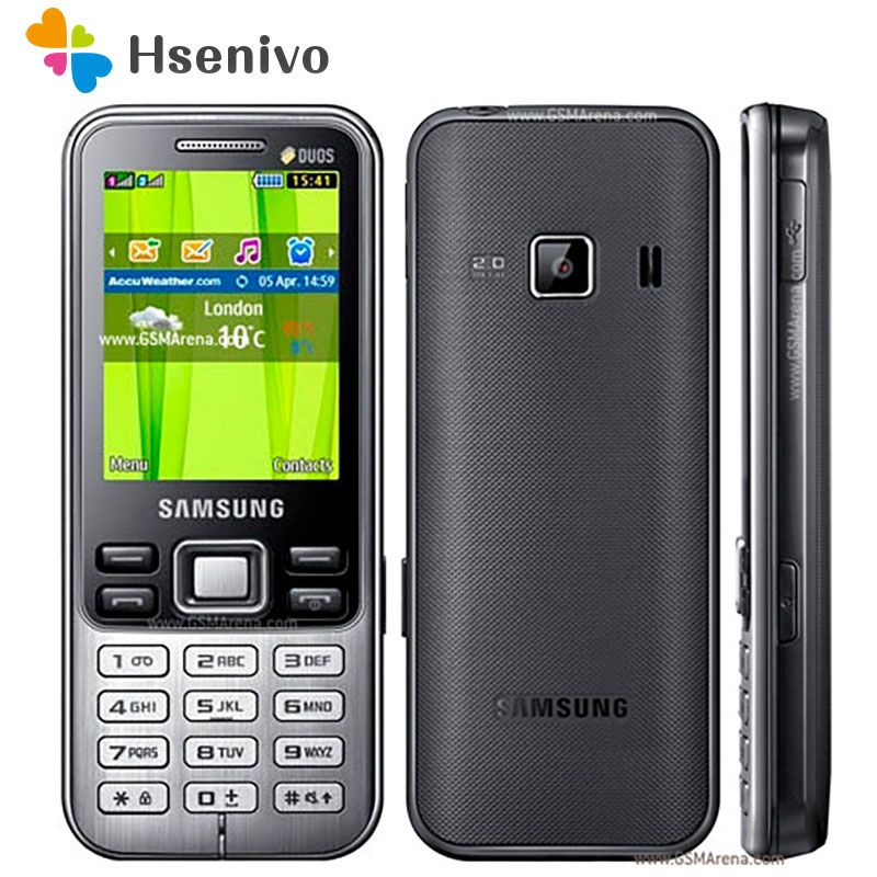 C3322 100% Original Unlocked Samsung C3322 GSM Dual Sim Card FM Bluetooth FM Radio Mobile Phone Free Shipping