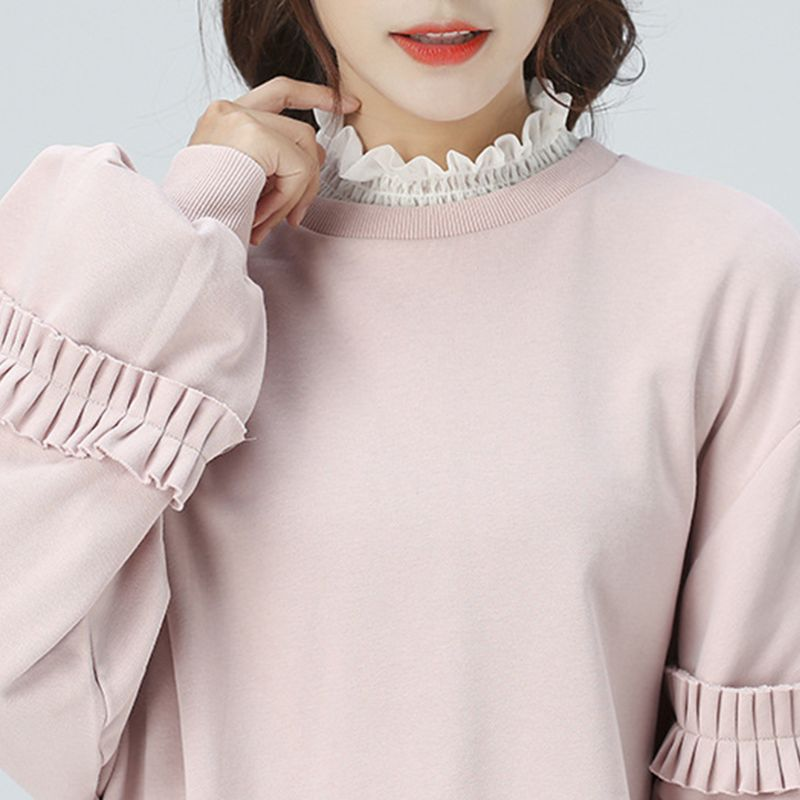 Women Ruffles Elastic High Neck False Fake Collar Lady Female Casual Solid Pullover Vest Style Half-Shirt Detachable Collar