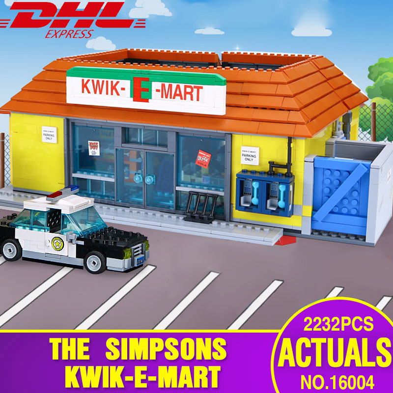DHL 16004 Movie Toys The 71016 Simpsons Kwik-E-Mart Set Compatible With Lepining Building Blocks Bricks Kids Christmas Toys Gift