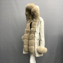 2019 natural fox fur coat Silver Fox collar plus size long winter Jacket Rex rabbit liner red fox hooded thick warm parks Disass карабин red fox mr 3006 цвет оранжевый