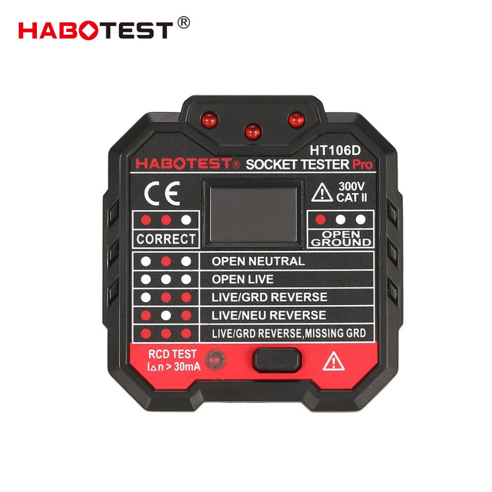 HABOTEST EU Plug HT106D Socket Testers Voltage Test Socket detector EU Plug Ground Zero Line Plug Polarity Phase CheckCircuit Breaker Finders   -