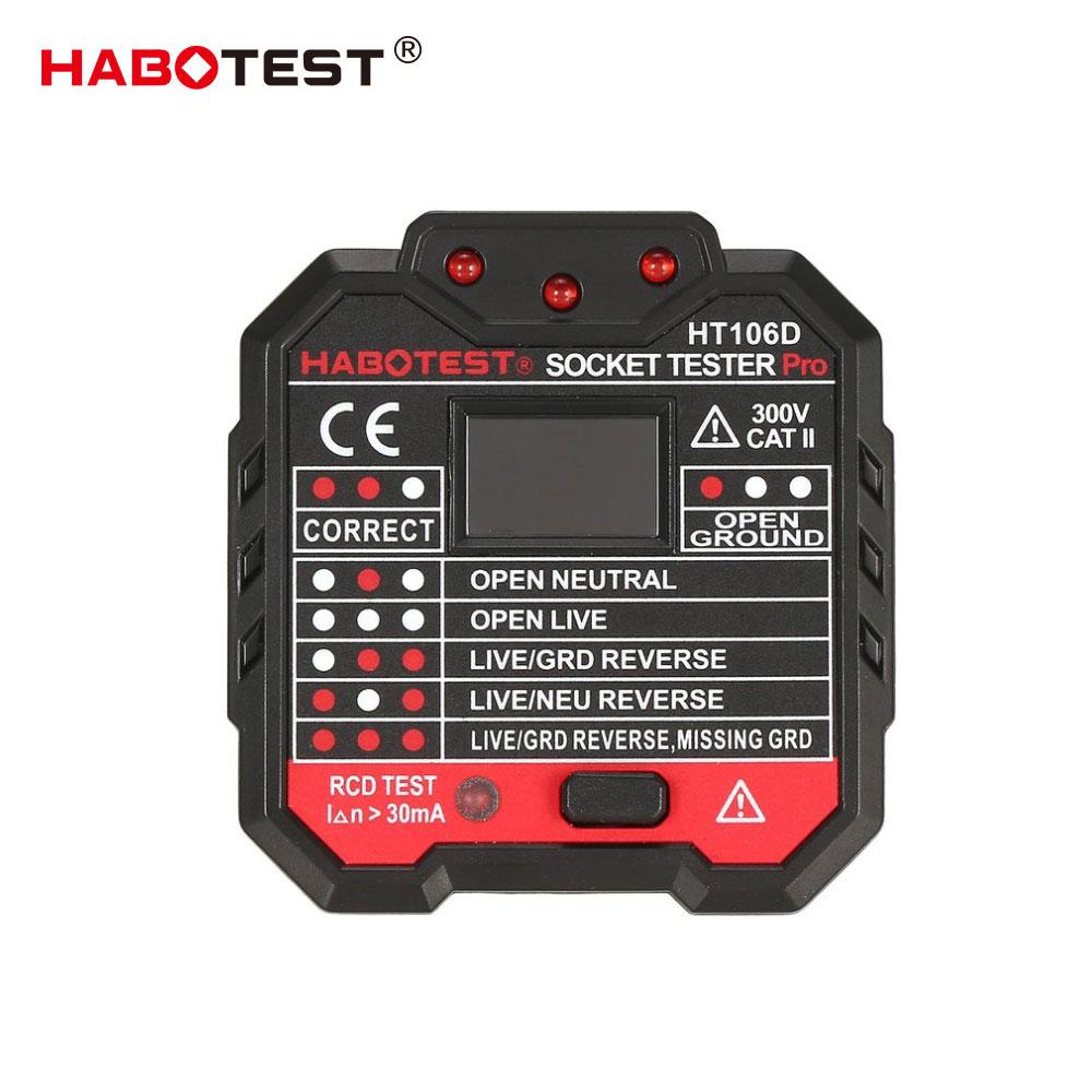 HABOTEST EU Plug HT106D Socket Testers Voltage Test Socket Detector EU Plug Ground Zero Line Plug Polarity Phase Check