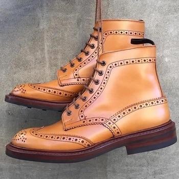Fashion Men Shoes Top Quality PU Leather Ankle Boots Male Martin Boots Lace-up Oxfords Casual Zapatos De Hombre LP380