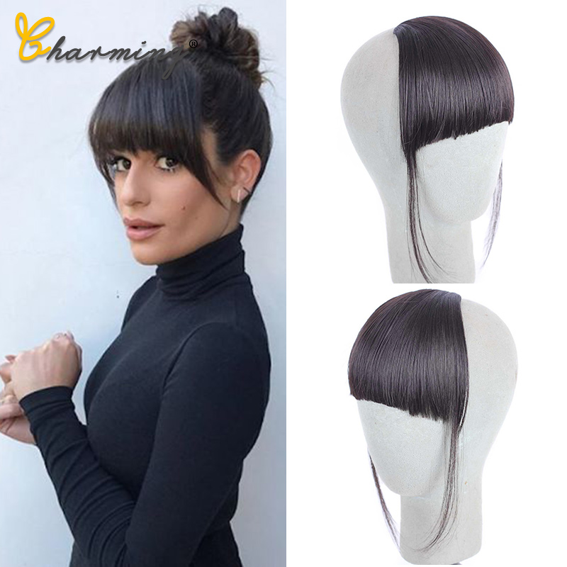 CHARMING Cute Short Neat Bangs Clip On Front Neat Bangs Fringe Clip In Hair Extensions Straight Hair Wig Lace Hair Ornament