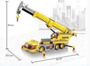 Image 4 - 380 sztuk miasto żuraw ciężarówka urządzenie inżynieryjne budowa Technic zestawy klocków budowlanych Playmobil DIY montaż cegieł zabawki dla dzieci