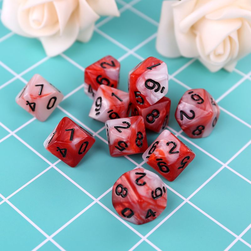 10pcs/set 10 Sided D10 Polyhedral Dices Numbers Dials Desktop Table Board Game