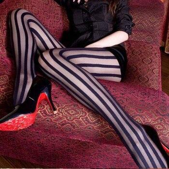 Medias Vintage sexis negras con diseño de rayas verticales para mujer