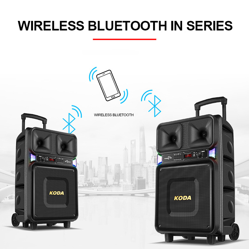 Big Power 120W Wireless Portable Bluetooth Speaker Pull Rod Outdoor With Microphone Music Player Wedding AUX USB Loudspeaker 5