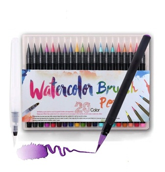 20 Color Watercolor Paint Brush pen set with Refillable water Coloring Pen for drawing painting Calligraphy art Kids gift A6901
