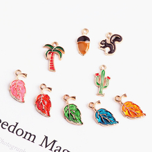 2pcs korea cute cartoon coconut tree cactus squirrel chestnut leaf fashion woman earrings pendant diy jewelry accessories
