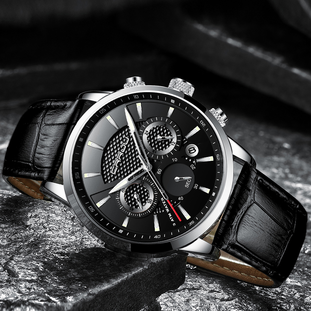 CRRJU, nuevos relojes de moda para hombre, relojes de pulsera analógicos de cuarzo, cronógrafo resistente al agua de 30M, reloj deportivo con fecha Relojes De Correa De Cuero para hombre 9