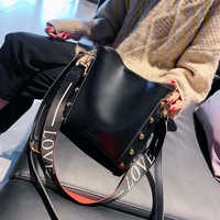 Messenger bag Women Bucket Shoulder Bag large capacity vintage Matte PU Leather lady handbag Luxury Designer Black Bag