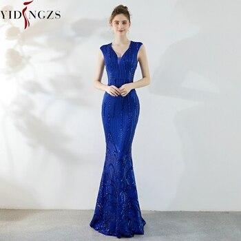 YIDINGZS Royal Blue Sequins Evening Dress Elegant Beading Long Evening Party Dress YD921