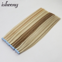 isheeny 2.5g Remy Human Hair Tape in Extensions 14 18 22 Piano Color Skin Weft Invisible Tape Hair Extensions 20pcs 4 colors