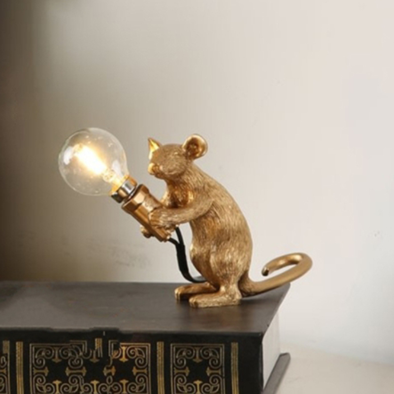 Mouse Resin Table Lamps Room Decorative Table Lamp for Bedroom Bedside Lamp Desk Lamp Home Deco Lighting Fixtures EU Plug Desk Lamps     - title=