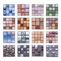 10*10cm Mosaic Self Adhesive Tile Wall Stickers Vinyl Bathroom Kitchen Home Decoration DIY PVC Stickers Decals Wallpaper 10pcs