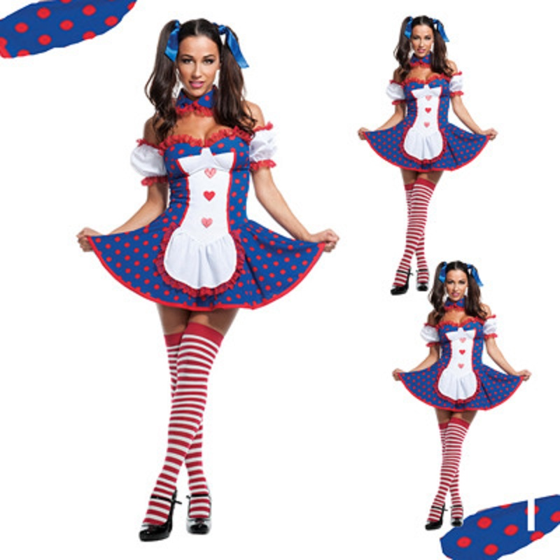 Halloween Women Cosplay Party Dirndl Clown Maid Dress with Apron Vintage Bavarian Costume Traditional German Oktoberfest Clothes