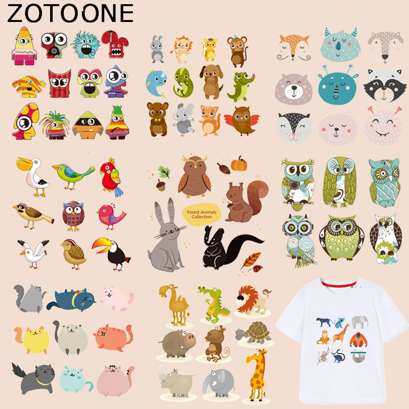 ZOTOONE Cute Animal Patch Owl Sticker Cat Iron on Patches for Clothing Heat Transfers Diy Accessory Appliques Washable G