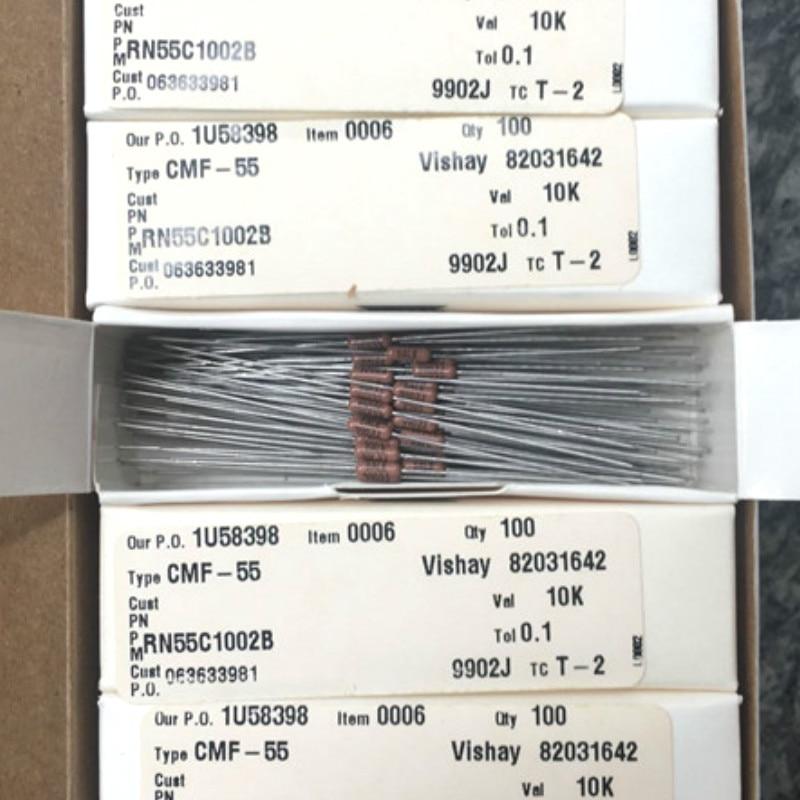 20PCS VISHAY DALE CMF55 0.25W 10K  0.1% T-2 Axial Resistance RN55 1/4W 10K CMF-55 Military Regulations Metal Film Resistor