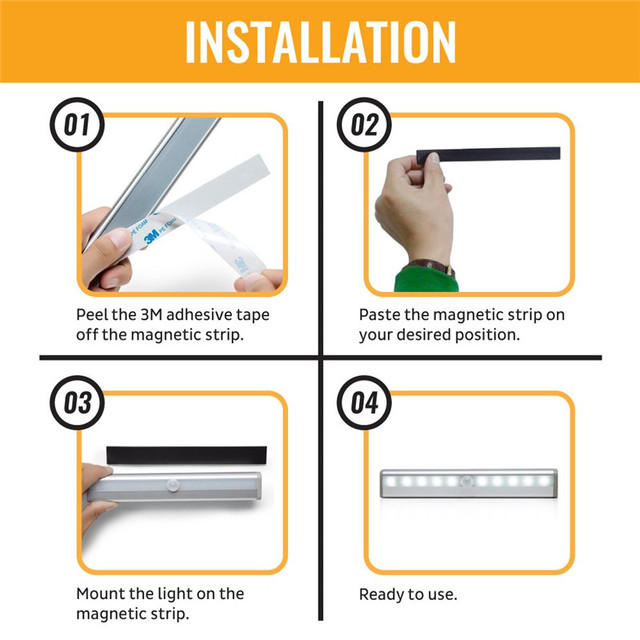 6/10 LEDs PIR LED Motion Sensor Light Cupboard Wardrobe Bed Lamp LED Under Cabinet Night Light For Closet Stairs Kitchen 4
