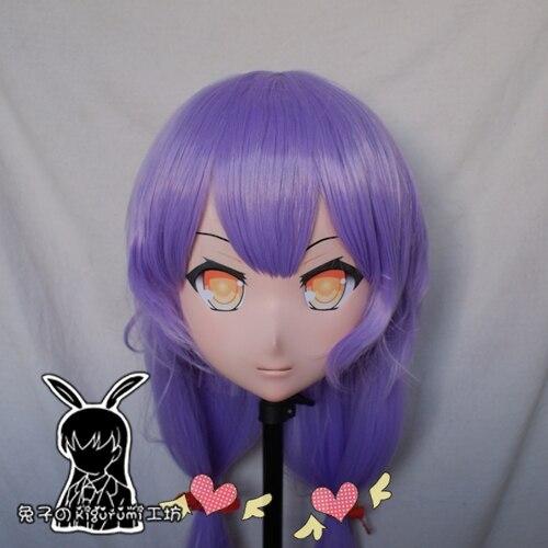 (Rabbit 100) Resin Cross dress Pretty Girl Head BID Doll Mask Japanese Anime Kigurumi Mask Cosplay with Wig