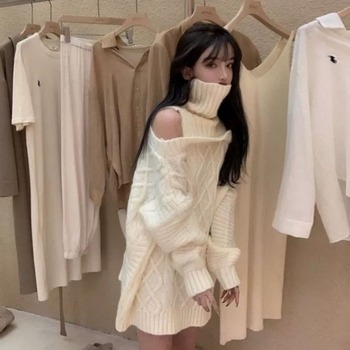 Korean High Neck Pullover Off-shoulder Knitted Sweater  Autumn Winter Women  New Loose and Versatile Long-sleeved Tops 1