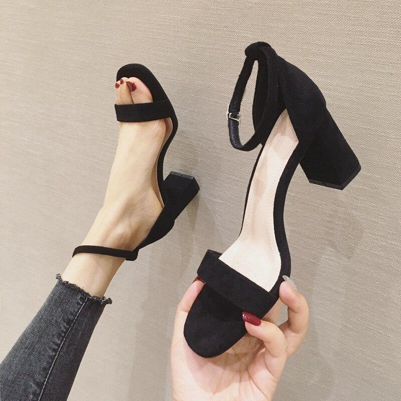 Summer 2020 New Women Sandals Almond Shaped Toe Block Heels  Classic Female Designer Korea Women Shoes Sandals