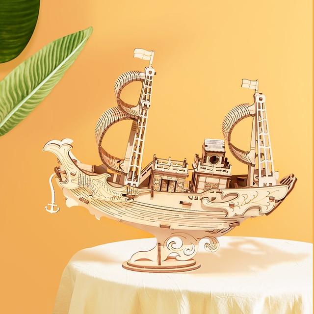 Robotime 3D Wooden Puzzle Games Boat & Ship Model Toys For Children Kids Girls Birthday Gift 5