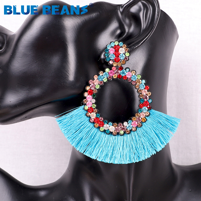 Hf17d94ff6b7d4a83934f6c76e6e982a5t - Tassel Earrings Women Punk Earings Fashion Jewelry Hanging Crystal Star Girls Earring Drop Dangle Long Boho Set  Luxury Handmade