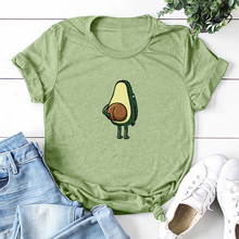 Fashion Plus Size Women T-shirt Cartoon Avocado Pattern Print Funny T-Shirt Women O-Neck Short Sleeve Casual Cute Tshirt Tops avocado print t shirt