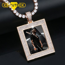New Custom Photo Memory Square Solid Medallions Pendant Necklace For Women Men Hip Hop Crystal Jewelry Drop Shipping Gift Box(China)