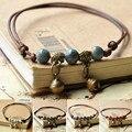 Голубой керамический коричневый ножной браслет на веревке для женщин и девушек браслеты ручной работы с бусинами литература и искусство эт...
