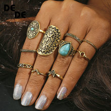 10pcs Vintage Big Stone Midi Ring Set For Women Boho Antique Gold Silver Heart Flower Knuckle Rings Boho Jewelry Anillos Gift(China)